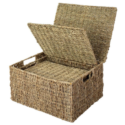 Made Terra Wicker Basket Seagrass Wicker Lidded Storage Baskets (Set 3) | Baskets for Shelves w Lids & Insert Handles