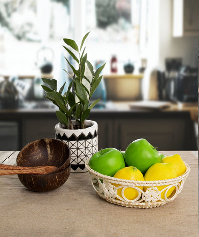 Made Terra Wicker Basket Wicker Wire Fruit Basket Bowls | Round Tabletop Rattan Woven Serving Bowls for Party and Home