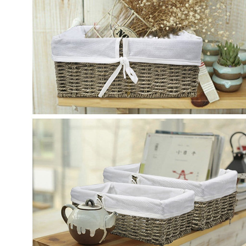 Made Terra Wicker Basket Set of 2 Woven Wicker Storage Baskets (Seagrass) | Decorative Baskets and Bathroom Organizers