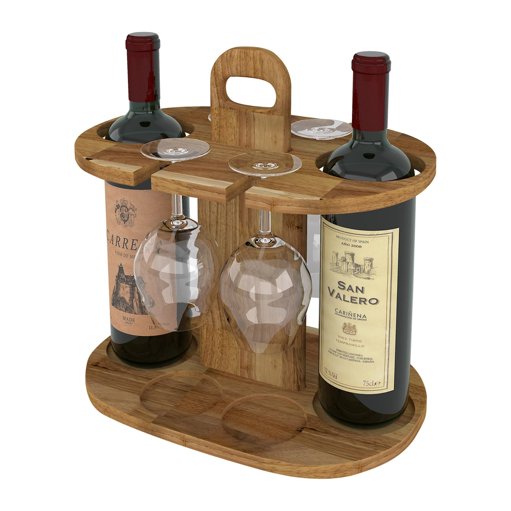 Made Terra Wine Bottle Holder Wood Wine Rack Stand ( 2 bottles ) | Rustic Farmhouse Wood Wine Carrier, Drink Holder