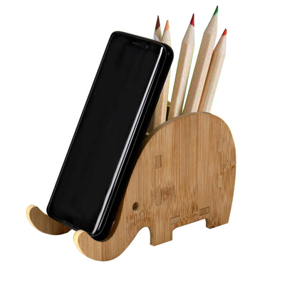 Made Terra Wooden Elephant Pen Holder with Phone Stand | Handmade Stationery Organizer, Desk Accessories Holder, Desktop Organizer Pencil Holder Pot Ideal Gift for Office