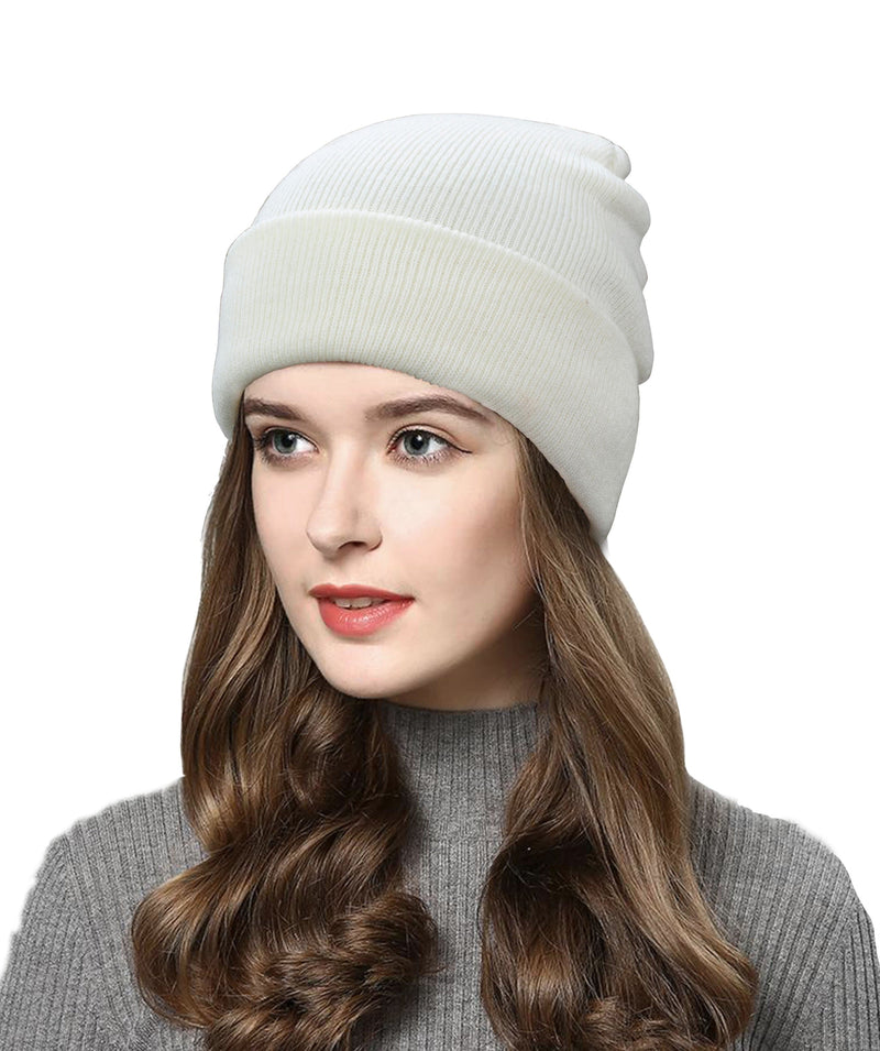 Made Terra Wool Hat White WA Beanie for Women and Men - Warm&Soft Winter Acrylic Knit Skull Cuff Cap
