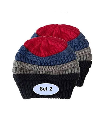 Made Terra Wool Hat 4 Colors Mixed / Set of 2 Beanie for Women and Men - Warm&Soft Winter Acrylic Patterned Knit Skull Cap