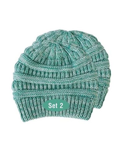 Made Terra Wool Hat Aqua- Baltic WB / Set of 2 Beanie for Women and Men - Warm&Soft Winter Acrylic Patterned Knit Skull Cap