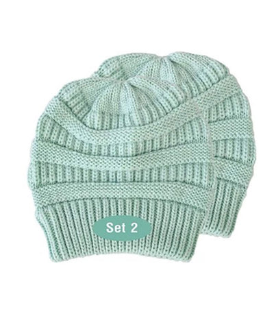 Made Terra Wool Hat Aqua WB / Set of 2 Beanie for Women and Men - Warm&Soft Winter Acrylic Patterned Knit Skull Cap