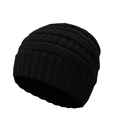 Made Terra Wool Hat Black WB / Set of 1 Beanie for Women and Men - Warm&Soft Winter Acrylic Patterned Knit Skull Cap