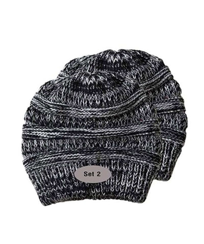 Made Terra Wool Hat Black- White WB / Set of 2 Beanie for Women and Men - Warm&Soft Winter Acrylic Patterned Knit Skull Cap