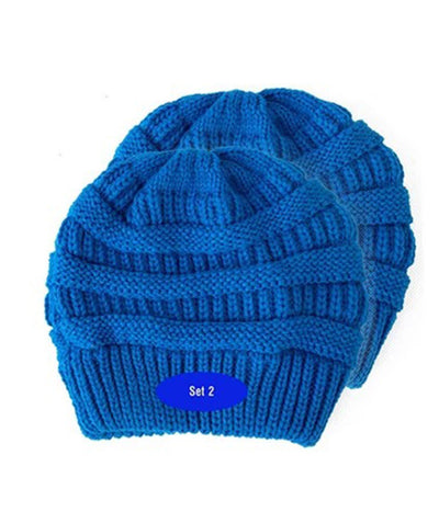 Made Terra Wool Hat Blue WB / Set of 2 Beanie for Women and Men - Warm&Soft Winter Acrylic Patterned Knit Skull Cap