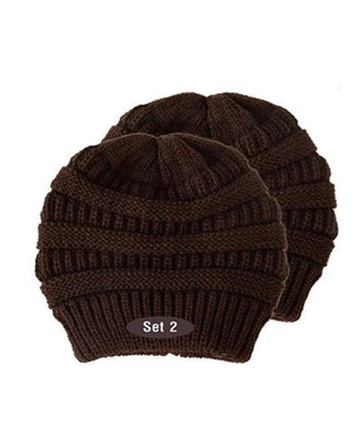 Made Terra Wool Hat Brown WB / Set of 2 Beanie for Women and Men - Warm&Soft Winter Acrylic Patterned Knit Skull Cap