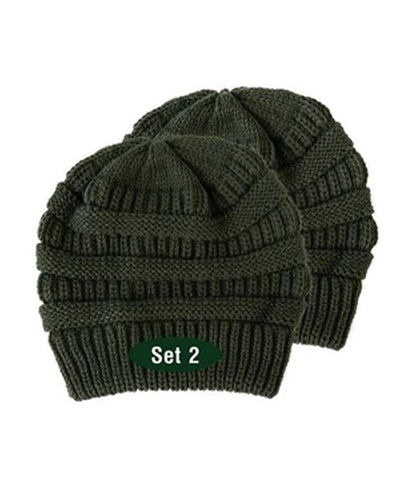 Made Terra Wool Hat Dark Green WB / Set of 2 Beanie for Women and Men - Warm&Soft Winter Acrylic Patterned Knit Skull Cap