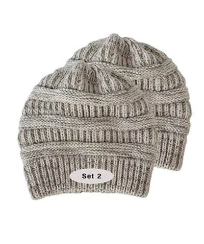 Made Terra Wool Hat Grey- White WB / Set of 2 Beanie for Women and Men - Warm&Soft Winter Acrylic Patterned Knit Skull Cap