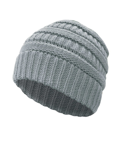 Made Terra Wool Hat Light Grey WB / Set of 1 Beanie for Women and Men - Warm&Soft Winter Acrylic Patterned Knit Skull Cap