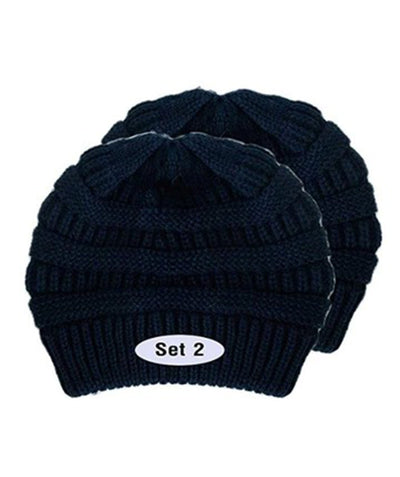 Made Terra Wool Hat Navi WB / Set of 2 Beanie for Women and Men - Warm&Soft Winter Acrylic Patterned Knit Skull Cap
