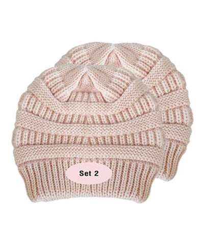 Made Terra Wool Hat Pink WB / Set of 2 Beanie for Women and Men - Warm&Soft Winter Acrylic Patterned Knit Skull Cap