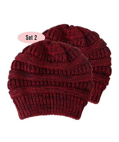 Made Terra Wool Hat Red- Black WB / Set of 2 Beanie for Women and Men - Warm&Soft Winter Acrylic Patterned Knit Skull Cap