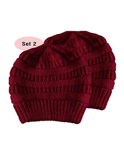 Made Terra Wool Hat Red WB / Set of 2 Beanie for Women and Men - Warm&Soft Winter Acrylic Patterned Knit Skull Cap