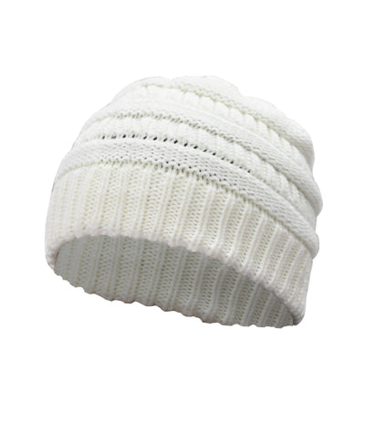 Made Terra Wool Hat White WB / Set of 1 Beanie for Women and Men - Warm&Soft Winter Acrylic Patterned Knit Skull Cap