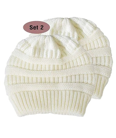 Made Terra Wool Hat White WB / Set of 2 Beanie for Women and Men - Warm&Soft Winter Acrylic Patterned Knit Skull Cap