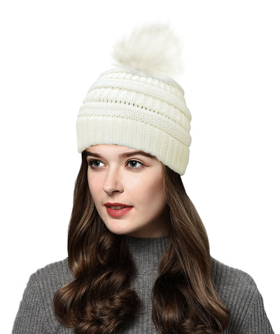 Made Terra Wool Hat Beanie with Faux Fur Pompom | Soft&Warm Women Winter Knit Slouchy Hat