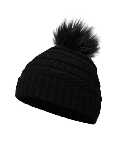 Made Terra Wool Hat Black WB Beanie with Faux Fur Pompom | Soft&Warm Women Winter Knit Slouchy Hat