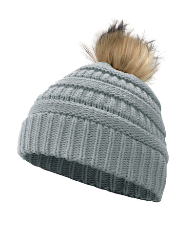 Made Terra Wool Hat Light Grey WB Beanie with Faux Fur Pompom | Soft&Warm Women Winter Knit Slouchy Hat