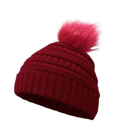 Made Terra Wool Hat Red WB Beanie with Faux Fur Pompom | Soft&Warm Women Winter Knit Slouchy Hat