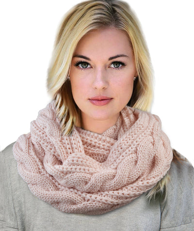 Made Terra Wool Scarf Winter Infinity Circle Loop Scarf |  Thick Ribbed Knit Wrap for Women and Men