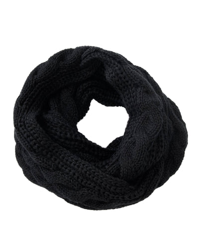 Made Terra Wool Scarf Black WBS Winter Infinity Circle Loop Scarf |  Thick Ribbed Knit Wrap for Women and Men