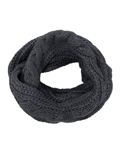 Made Terra Wool Scarf Dark Grey WBS Winter Infinity Circle Loop Scarf |  Thick Ribbed Knit Wrap for Women and Men
