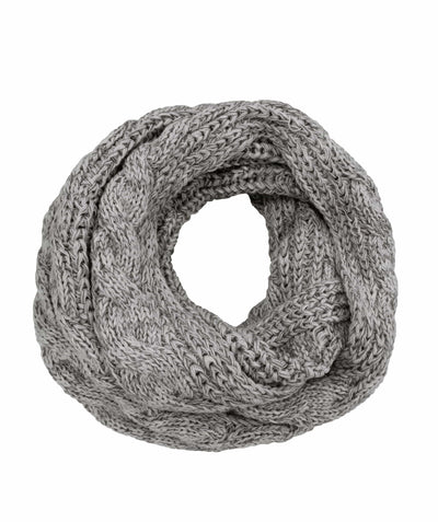 Made Terra Wool Scarf Light Grey WBS Winter Infinity Circle Loop Scarf |  Thick Ribbed Knit Wrap for Women and Men