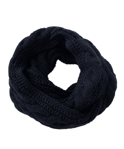 Made Terra Wool Scarf Navi WBS Winter Infinity Circle Loop Scarf |  Thick Ribbed Knit Wrap for Women and Men