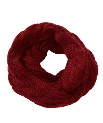 Made Terra Wool Scarf Red WBS Winter Infinity Circle Loop Scarf |  Thick Ribbed Knit Wrap for Women and Men