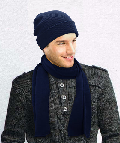 Made Terra Wool Set Beanie Hat and Scarf Set |  Winter Hat Cuff Beanie Thick Knit Skull Cap & Wraps