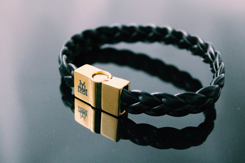 Black Leather / 14k Gold Clasp Bracelet