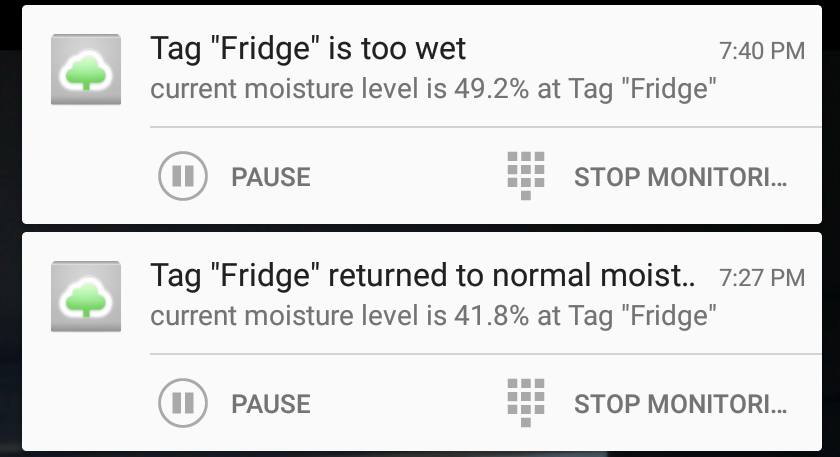 Pause and Temporarily Disarm Tags from Notification Screen