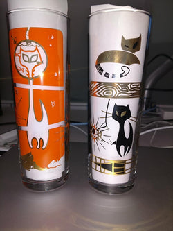 """Katzen"" 15oz Zombie glass - Halloween Orange & Midnight Black"