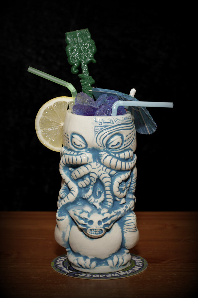 Hyperborean edition Horror In Clay Cthulhu Tiki Mug - white and glacial blue