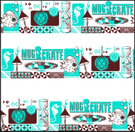 """MugCrate"" Launch Mai Tai glass -Teal And Brown"