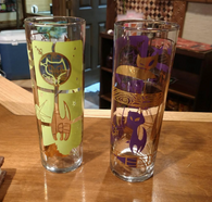 """Katzen"" 15oz Zombie glass - Lime &  Purple"