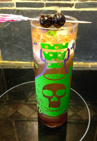 """Pick Yer Poison"" 15oz Zombie glass - Purple & Neon Green"