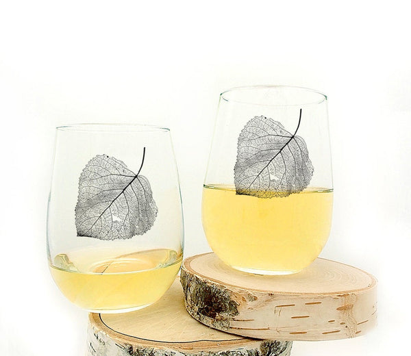 Aspen Leaf Wine Glasses
