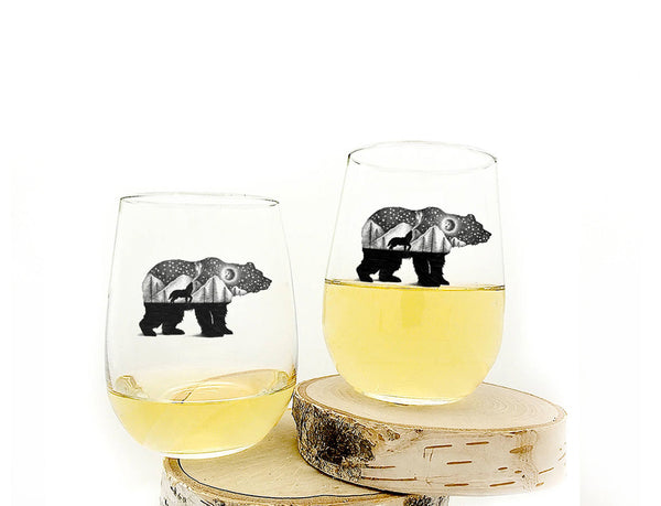 Bear and Wolf Wine Glasses