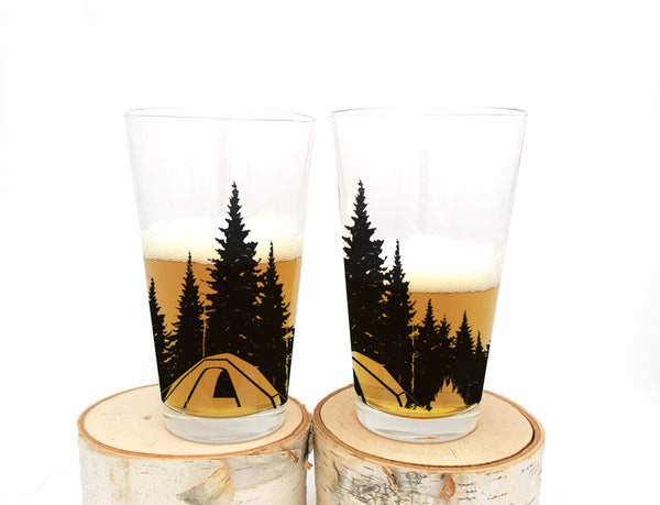 Camping in the Woods Pint Glass