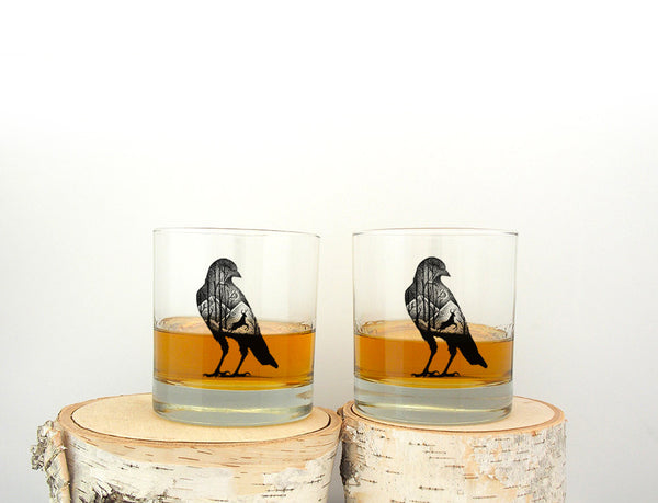 Crow and Deer Rock Glasses