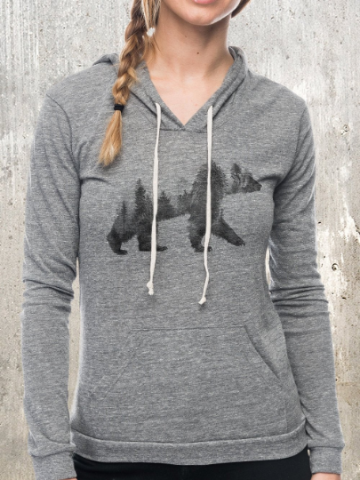 Double Exposure Bear Pullover Hoodie
