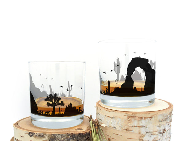 Desert Landscape Whiskey Glasses