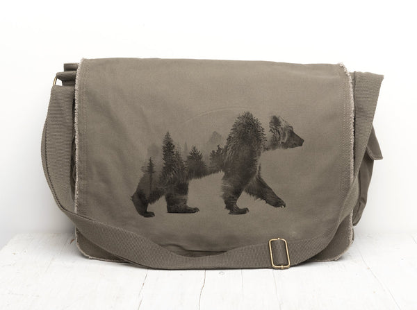 Double Exposure Bear Messenger Bag- Crawlspace Studios