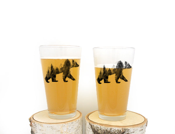 Double Exposure Bear Pint Glass
