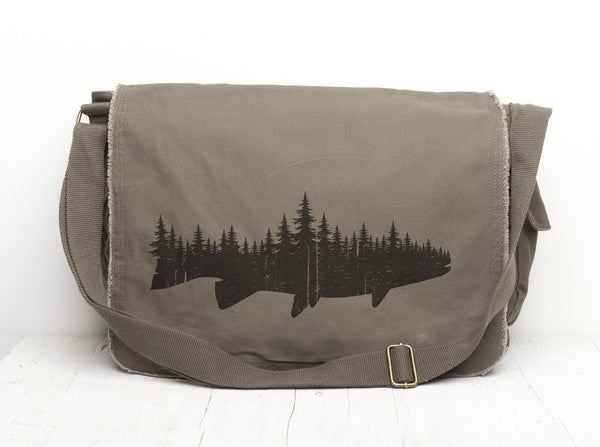 Fish and Forest Messenger Bag- Crawlspace Studios