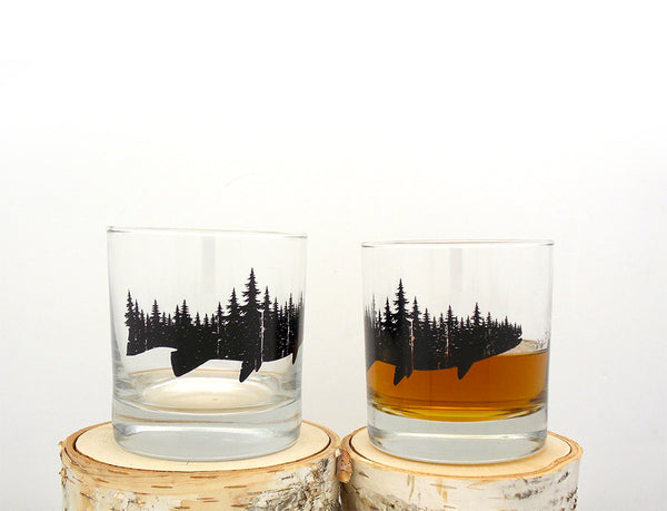 Fish and Forest Whiskey Glasses